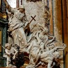 Religion Overthrowing Heresy and Hatred, by Pierre Legros the Younger (1695–1699) Allegory: The Triumph of Faith over Heresy, from the Church of the Gesù (Jesuit Mother Church), Rome. Luther and Calvin, with their condemned works, lay defeated.