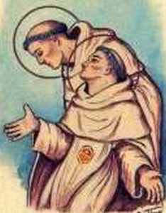 detail of an antique Italian holy card of Beati Alfonso De Maneses e Dionisio de Vilaregut; swiped with permission from the Santini Imagini web site