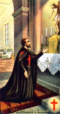 Saint Camillus de Lellis holy card, date and artist unknown