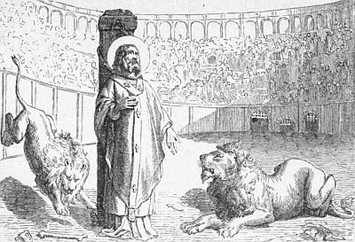 illustration of the martyrdom of Saint Ignatius of Antioch; taken from 'Pictorial Lives of the Saints', 1892, artist unknown