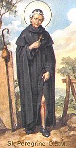Saint Peregrine Laziosi holy card, artist unknown