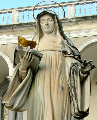 detail of a statue of Saint Scholastica at the monastery of Montecassino, Italy; swiped off Wikipedia