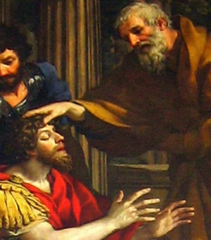 detail from 'Ananias restoring the sight of Saint Paul' by Pietro da Cortona, c.1660; Kunsthistorisches Museum, Vienna, Austria; swiped from Wikimedia Commons