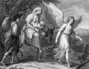 detail of an illustration of the 'Flight into Egypt' by Francesco Bartolozzi, c.1790; Pushking Museum of Fine Arts; swiped from Wikimedia Commons