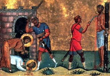 execution of the Martyrs of Antioch, from the Menologion of Basil; swiped off Wikipedia