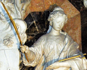 detail of a statue of Saint Leocadia of Toledo; swiped off the web site of the Diocese of Toledo, Spain