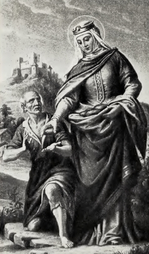 illustration of Saint Elizabeth and a Beggar, artist unknown; from 'Saint Elizabeth of Hungary, Patroness of the Third Order', by Father Hilarion Duerk, OFM, 1919