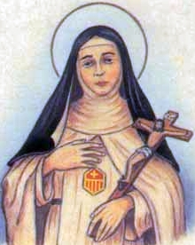 detail of an Italian holy card of Blessed Colagia by Bertoni, date unknown; swiped from Santi e Beati