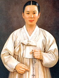 detail of a portrait of Blessed Columba Gang Wan-suk, date and artist unknown; swiped from Santi e Beati; click for source image