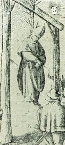 detail of an old engraving of the execution of Blessed Dermot O'Hurley, date and artist unknown; swiped from the AusMaria web site