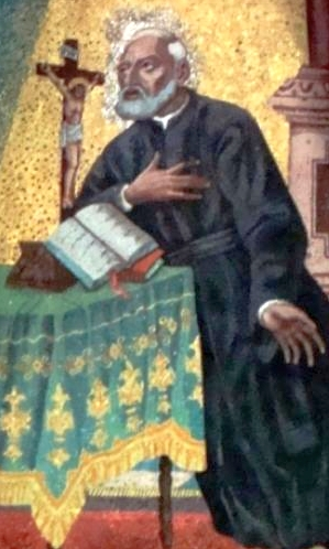 detail of a painting of Blessed John Marinoni; date and artist unknown; Saint Cajetan Church, Gustavo A. Madero, Federal District, Mexico; photographed on 8 February 2009 by Enrique López-Tamayo Biosca; swiped from Wikimedia Commons; click for source image