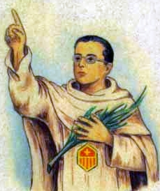 detail of an Italian holy card of Blessed Manuel Sancho Aguilar by Bertoni, date unknown; swiped from Santi e Beati