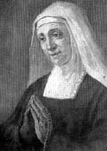 detail from an old holy card of Blessed Maria Fortunata Viti, artist unknown, publisher unknown