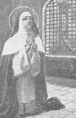 detail from an Italian holy card of Blessed Marie Lhuilier, date and artist unknown; swiped from Santi e Beati; click for source image