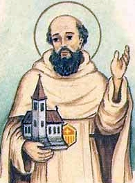 detail of an Italiano holy card of Blessed Pontius de Barellis by Bertoni, date unknown; swiped from Santi e Beati