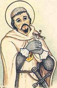 detail of an Italian holy card of Blessed Pontius de Clariana by Bertoni, date unknown; swiped from Santi e Beati