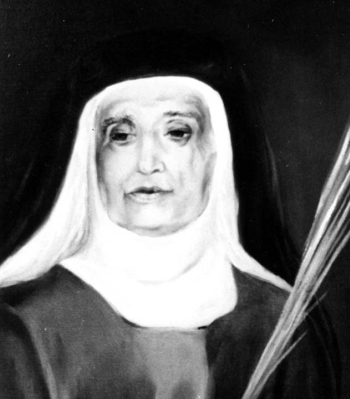 detail of a portrait of Blessed Ramona Ors Torrents, date and artist unknown; swiped from Santi e Beati