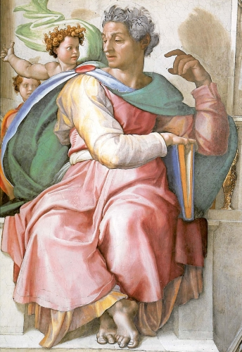 Michelangelo's portrait of Isaiah the Prophet on the Sistine Chapel, Rome, Italy