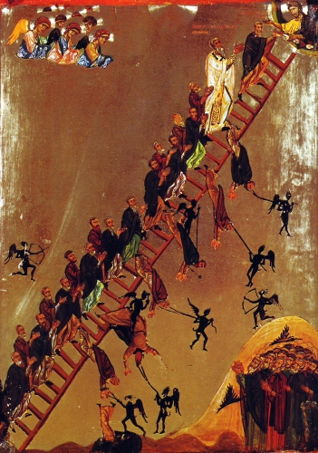 detail of a painting of monks of the Ladder of Divine Ascent as described in the vision of Saint John Climacus, the 30 rungs symbolizing Saint John's 30 virtues; latter 12th century, artist unknown; Saint Catherine's Monastery, Sinai, Egypt; swiped from Wikimedia Commons
