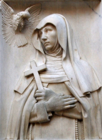 bas-relief sculpture of Saint Maria Crescentia Hoss; date and artist unknown; monastery church, Kaufbeuren, Germany; photographed on 23 April 2012 by Angela Huster; swiped from Wikimedia Commons