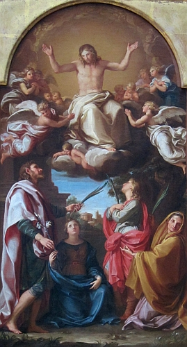detail from the painting 'Christ with Saints Julian, Basilissa, Celsus and Marcionilla' by Pompeo Battoni, c.1737; Getty Museum, Los Angeles, California