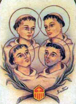 detail of an Italian holy card of the Martyrs of Fez by Bertoni, date unknown; swiped from Santi e Beati