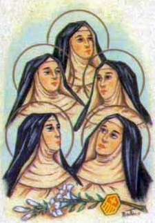 detail of a holy card of the Mercedarian Nuns of Seville by Bertoni, date unknown; swiped from Santi e Beati