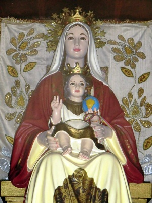 replica of the image of the Virgin of Coromoto; date and artist unknown; parish church of Guatire, Estado Miranda. Venezuela; photographed on 15 December 2011 by RASECZENITRAM; swiped from Wikimedia Commons; click for source image