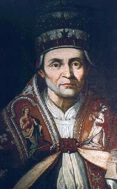 portrait of Pope Saint Celestine V, 1700, by Giulio Cessare Bedeschini; Museo de l'Aquila, Italy; swiped from Wikimedia Commons