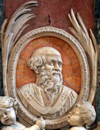 detail of a bas-relief portrait medallioin of Pope Saint Dionysius, date and artist unknown; Saint Peter's Basilica, Rome, Italy