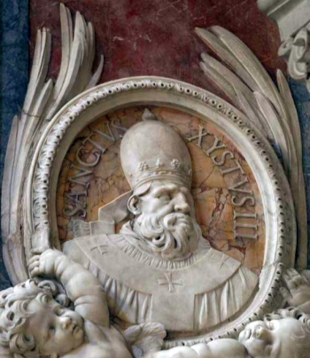 detial of a bas-relief portrait medallion of Pope Saint Sixtus III, date and artist unknown; Saint Peter's Basilica, Rome, Italy