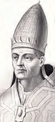 detail of an illustration of Pope Saint Vitalian; by Chevalier Artaud de Montor, 1842; from the edition published in 'The Lives and Times of the Popes', The Catholic Publication Society of America, New York 1911; swiped from Wikimedia Commons; click for source image