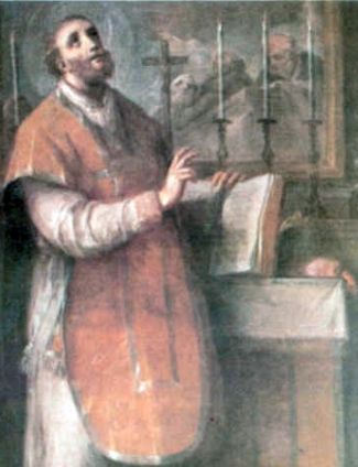 detail of an antique Italian holy card of Saint Adam of Guglionesi; swiped from Wikimedia Commons