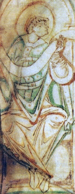 illustration of Saint Aethelwold of Winchester from an 11th-century manuscript of the Regularis Concordia. British Library
