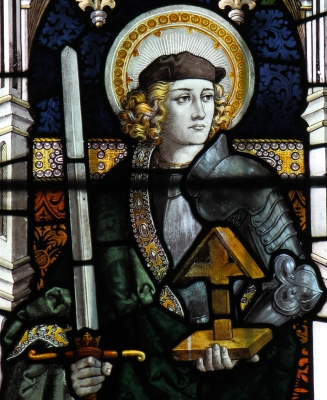 detail of a stained glass window of Saint Alban of Britain, date unknown, artist unknown; church of Saint Mary, Sledmere, East Riding of Yorkshire, England; photographed on 8 August 2009 by DaveWebster14; swiped from Wikimedia Commons