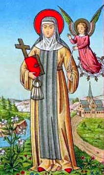 detail of an antique German Saint Aleydis of Schaerbeek holy card; swiped from Santi e Beati; click for source image