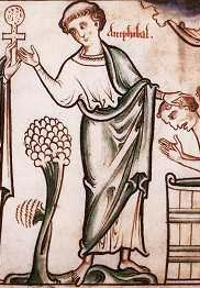 13th century illustration of Saint Amphibalus baptizing converts by Matthew Paris; swiped off Wikimedia Commons