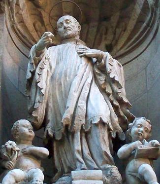 statue of Saint Andrew Avellino by Pedro Alonso de los Ríos, 17th century, façade of Saint Emilian and Saint Cajetan's Church, Madrid, Spain); photographed by Luis García (Zaqarbal), 4 July 2009; swiped off Wikimedia Commons