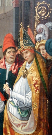 detail from Saint Anno of Cologne Receiving the Donation of Siegburg, by the Master of the Saints Agilolfus and Anno, 1520, Altarpiece, Antwerp, Belgium; Chazen Museum of Art, University of Wisconsin-Madison, Madison, Wisconsin, USA; photographed on 21 July 2013 by Daderot; swiped off Wikimedia Commons
