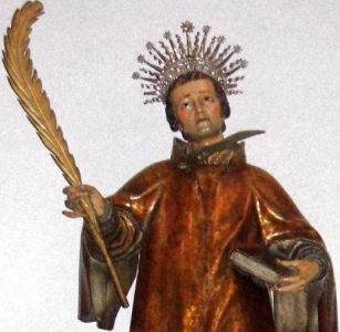 detail of a statue of Saint Antoninus of Pamiers, Basilica of Santa Maria de la Asuncion, Lequeitio, Biscay, Spain, artist unknown, date unknown