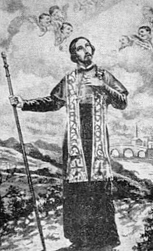 detail from an Italian holy card of Saint Arduinus of Trepino, date and artist unknown; swiped from Santi e Beati