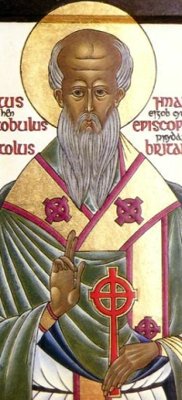 Orthodox icon of Saint Aristobulus of Britannia, date unknown, author unknown; swiped from Wikimedia Commons