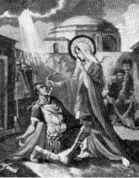 detail of an illustration of the conversion of Saint Audax, date and artist unknown; swiped from Santi e Beati; click for source image