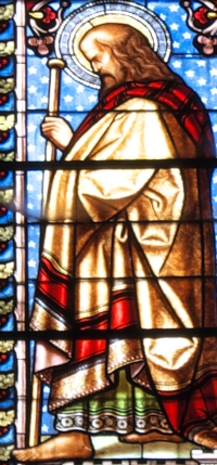 detail of a stained glass window of Saint Barnabas the Apostle; old cathedral of Saint John the Baptist, Bazas, Gironde, France; photographed on 28 March 2013 by GFreihalter; swiped from Wikimedia Commons