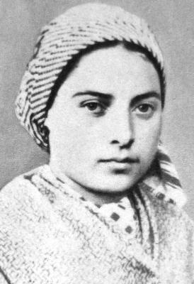 photograph of Saint Bernadette of Lourdes, c.1858; swiped off Wikimedia Commons