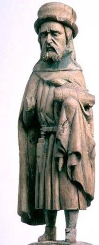 hardwood statue of Saint Botvid, artist unknown, 1350-1500 AD; Möja Möja Church, Uppland, Sweden; photographed on 6 May 1994 by Lennart Karlsson