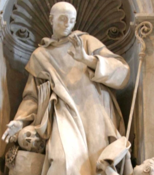 detail of a statue of Saint Bruno refusing a bishop's mitre, by Michaelangelo Slodtz, 1744; Saint Peter's Basilica, Rome, Italy