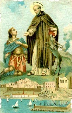 detail of a holy card of Saint Calogero of Sicily, date and artist unknown; swiped from Santi e Beati