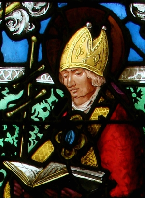 detail of a 16th-century stained glass window of Saint Claude de Besançon; Saint-Nicholas basilica, Saint-Nicolas-de-Port, Meurthe-et-Moselle, Lorraine, France; photographed on 16 October 2007 by Vassil; swiped from Wikimedia Commons