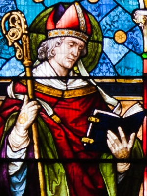 detial of a stained glass window depicting Saint Colman of Cloyne, created by Mayer and Company, 1886; Saint Mary's Church, Buttevant, County Cork, Ireland; photographed on 8 September 2012 by Andreas F. Borchert; swiped from Wikimedi Commons